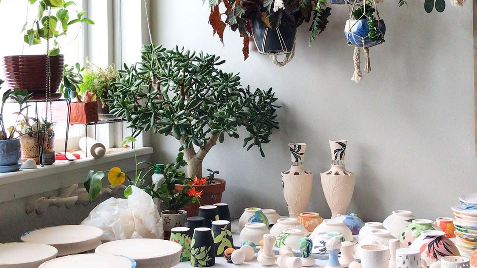 Taylor Sijan, a graduate student in ceramics, celebrated the start of a multi-day glazing project (and the beauty of her plants) in this image from Feb. 7. Learn more at https://go.unl.edu/kcya.