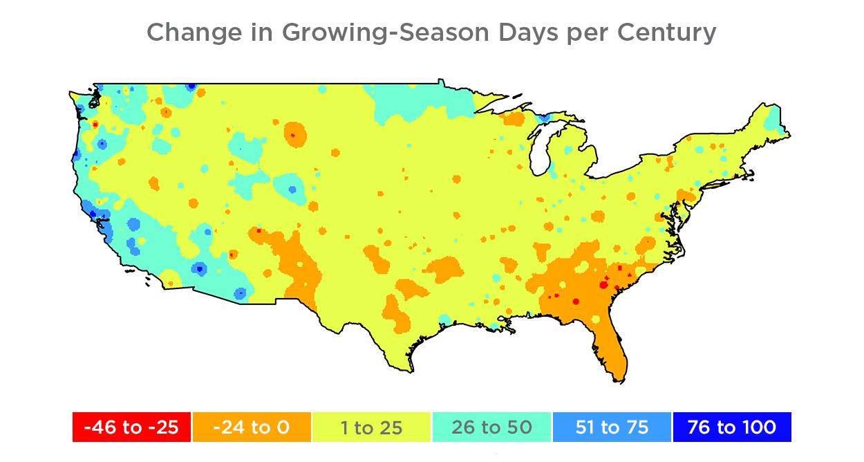 Us Growing Season Map 115 years of data reveal longer U.S. growing season, temp trends