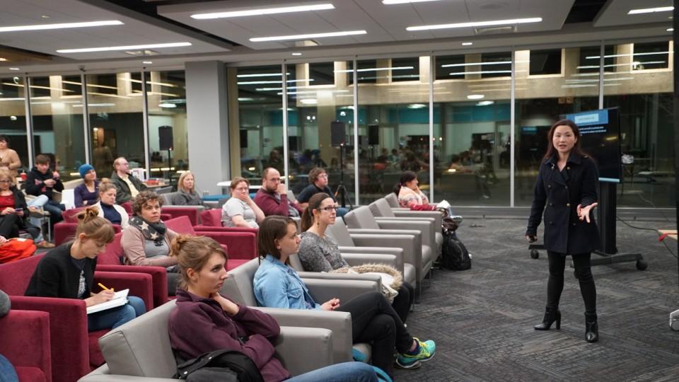 Rebecca Lai, Susan J. Rosowski Associate Professor of Chemistry, gives a SciPop Talks presentation in February 2016. Lai will kick off the 2017 SciPop series on Feb. 1.