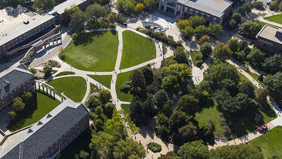 Aerial view above city campus.