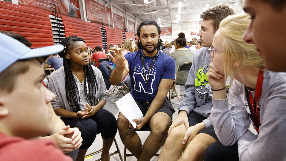 Nebraska students participate in Husker Dialogues, a diversity and inclusion event facilitated by more than 370 faculty, staff and student conversation guides, which was held Sept. 6.