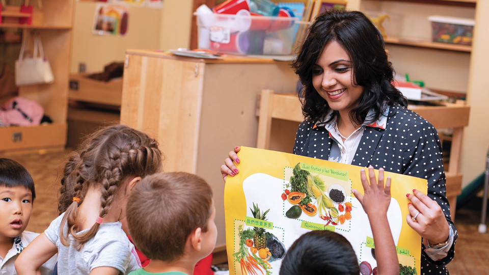 Dipti Dev, principal investigator, shares some healthy eating ideas with children.