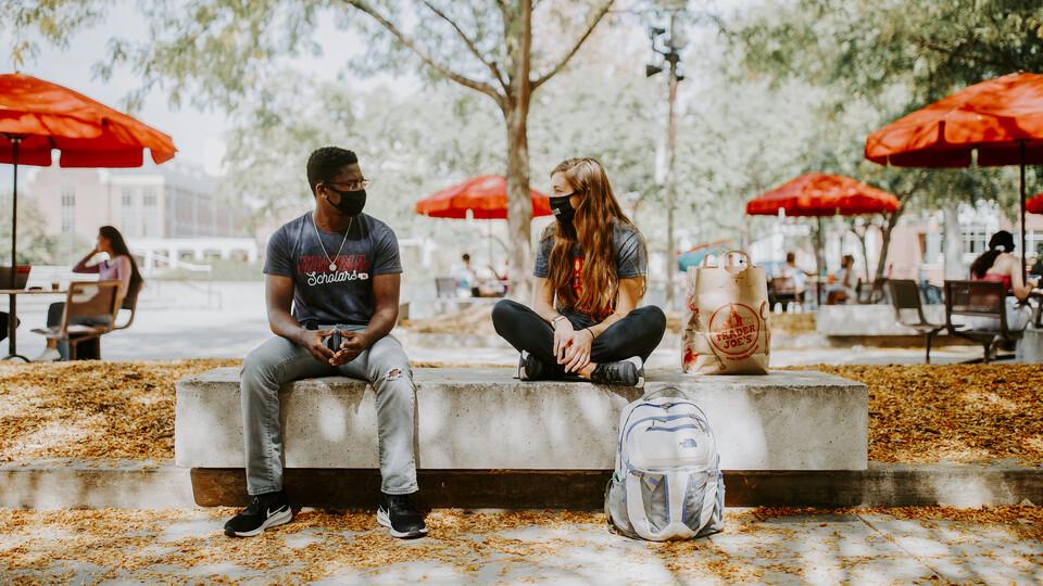 Students talking at Union Plaza