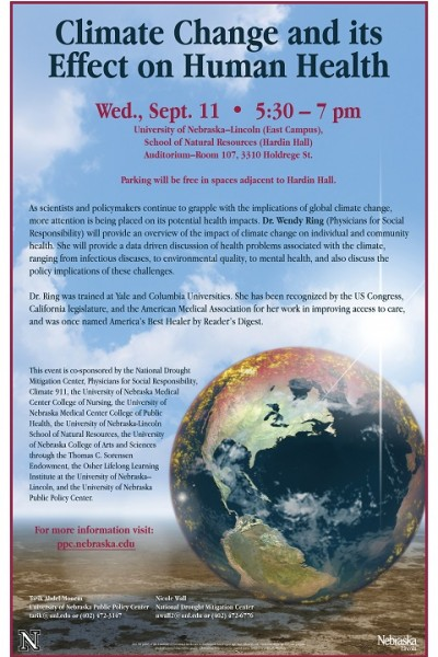 speaker to address climate change and its effect on human