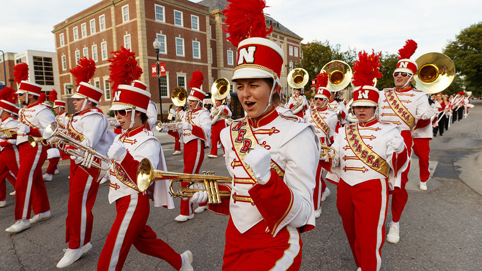 The Cornhusker Marching Band performs during the 2017 Homecoming parade. The 2018 parade starts at 6 p.m. Sept. 28. | University Communication
