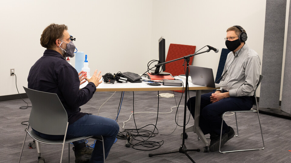 Associate Dean Christopher Marks interviews Assistant Professor of Emerging Media Arts Jesse Fleming for an upcoming episode of the ArtsCast Nebraska podcast.