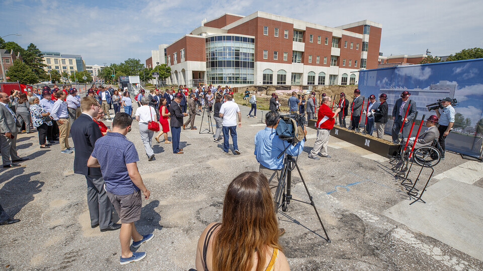More than 100 Huskers — including donors, current students and campus leaders — attended a June 28 groundbreaking for the University of Nebraska–Lincoln's privately-funded, $97 million Kiewit Hall.