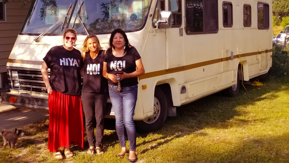 From left, Katie Edwards, associate professor, CYFS and educational psychology; Lee Pavia, founder of No Means No Worldwide and IMpower United; and Ramona Herrington, Lakota Elder and activist, on a South Dakota reservation. (Photo by Katie Edwards)
