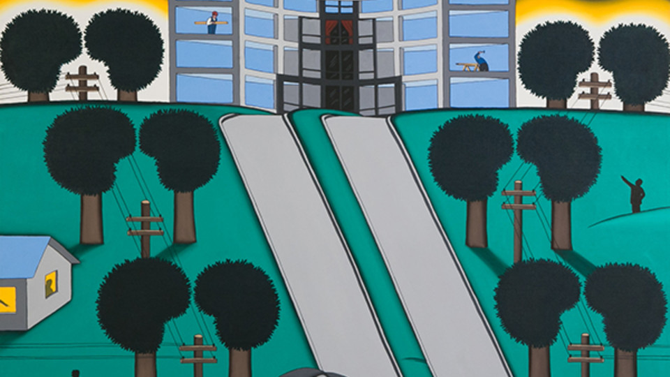 """Curtain Wall Going Up"" by Roger Brown is on view at Sheldon Museum of Art through July 29."