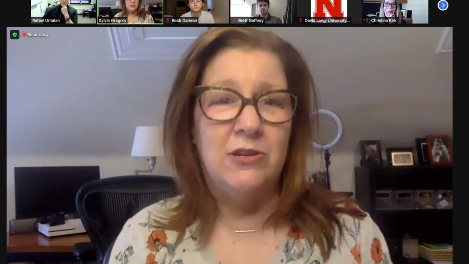 Casting director Sylvia Gregory, C.S.A., visits with students and faculty virtually in the Johnny Carson School of Theatre and Film on Feb. 26 as part of the new Professional Development Series.