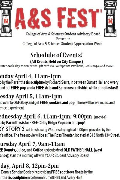 Celebrate A&S Fest April 4-8   Nebraska Today   University of