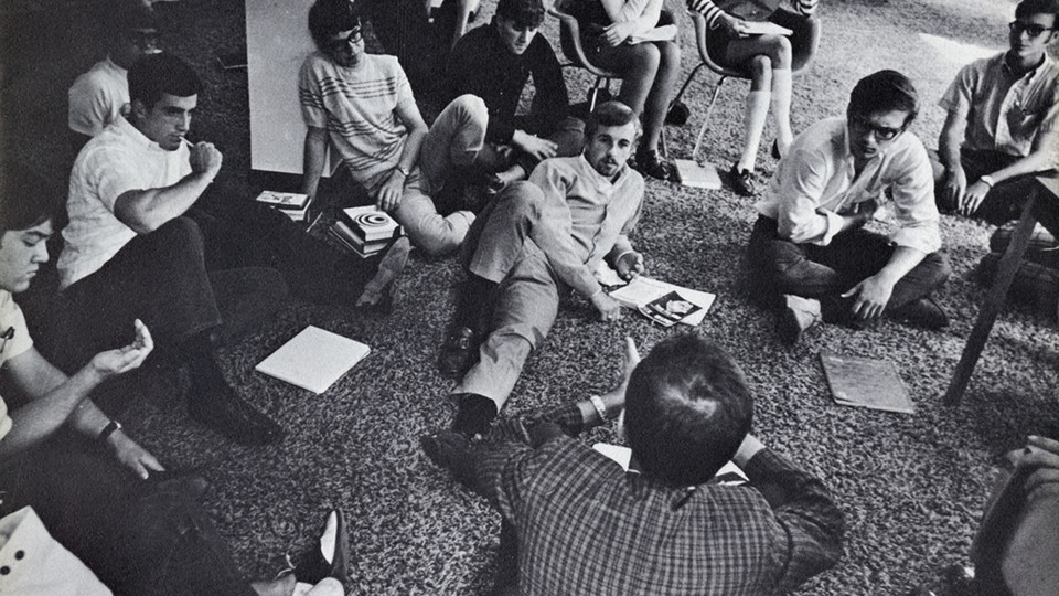 """An Economist Holds Court,"" a photo from the University Archives' Centennial College collection."