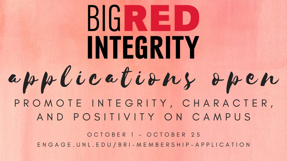 Big Red Integrity applications open until October 25th!
