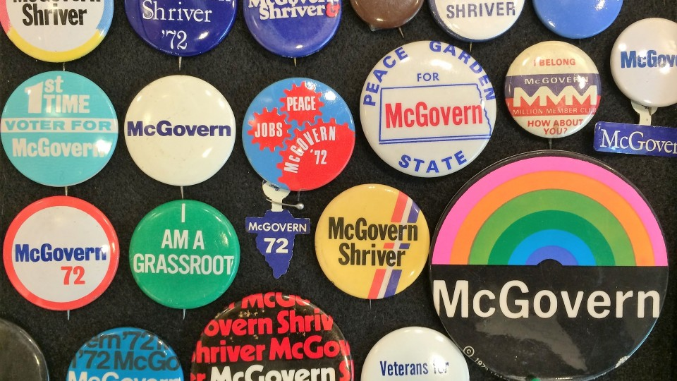 Display shows campaign memorabilia from '60s, '70s