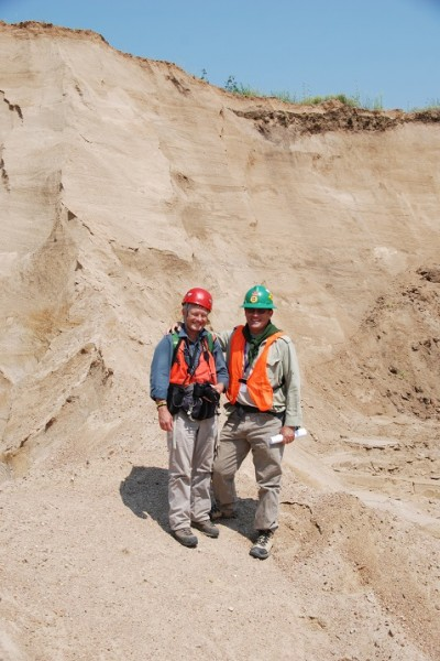 Fielding (left) and Joeckel (right) in the Beatrice Concrete Company Powell Sand and Gravel Pit near Fairbury, Neb. (Courtesy photo)
