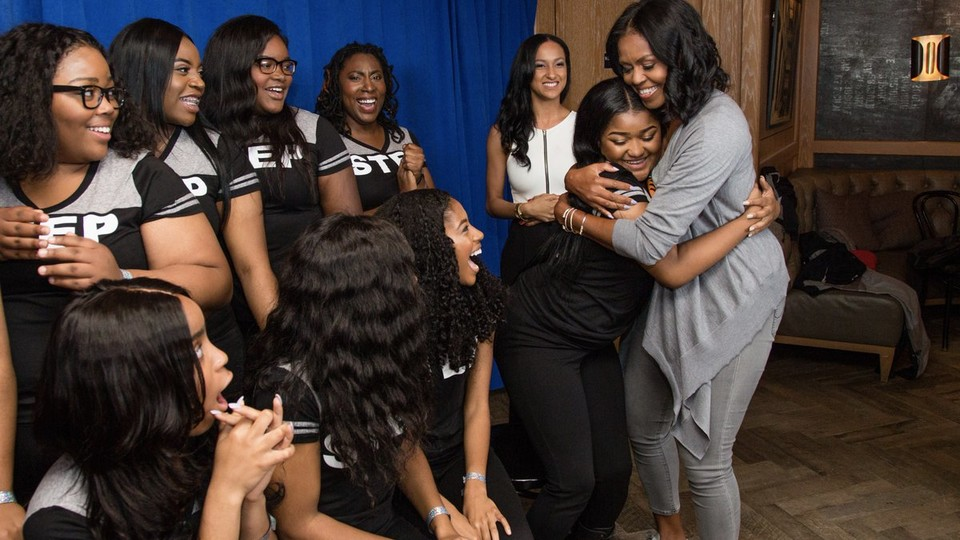 "Michelle Obama congratulating the students in ""Step"""