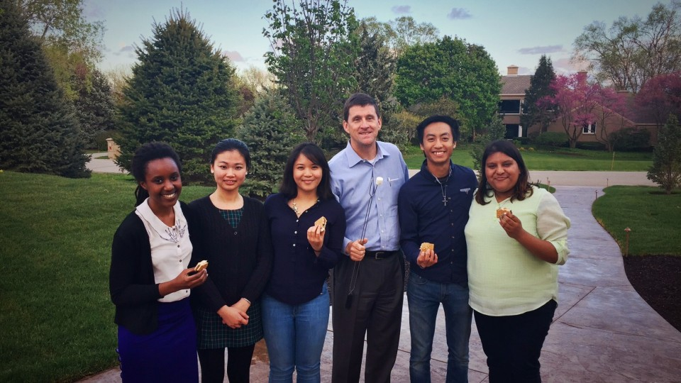 "NU President Hank Bounds and his family hosted five students from five countries through the ""Dinner in a Nebraska Home"" program in Spring 2016."