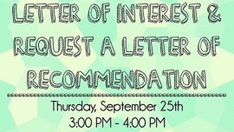Workshop To Help Students Write Letter Of Interest, Receive