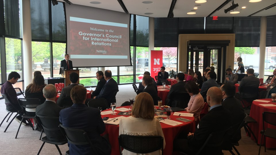 Chancellor Ronnie Green delivers opening remarks at the Governor's Council for International Relations meeting hosted at the University of Nebraska-Lincoln.