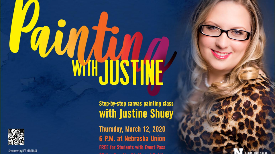 Come hang out, relax, and paint with Justine on March 12, 2020 in the Union Ballroom