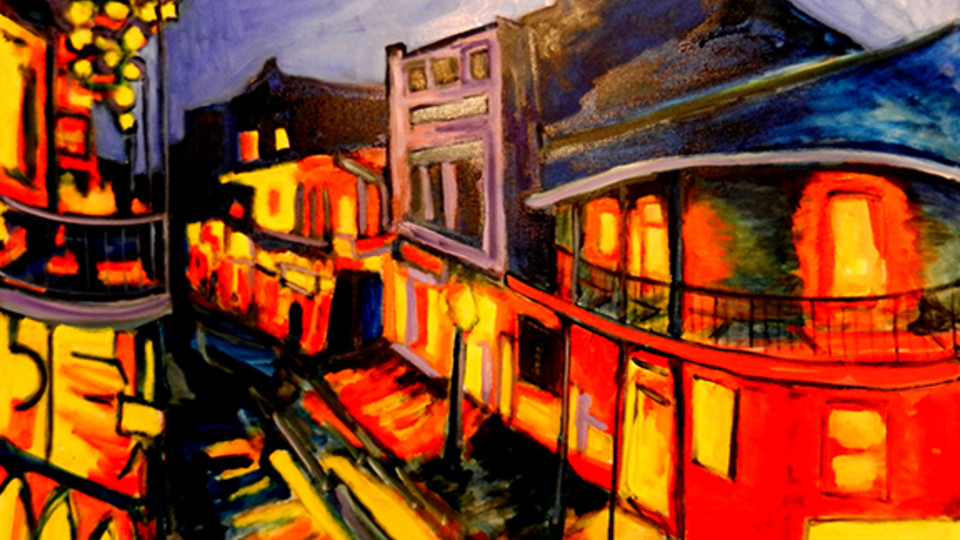 """The alumni exhibition in Richards Hall includes this artwork, """"Bourbon Street No. 7"""" by Jim Jacobi. The exhibition is open May 23 to Aug. 3."""