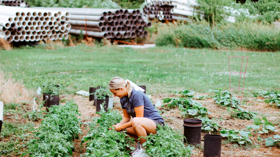 Husker senior Lily Woitaszewski tends to her family's garden in Wood River, Nebraska.
