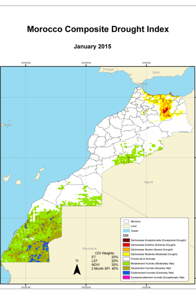 The Morocco Composite Drought Index for January 2015 shows drought in the country's northern edge, along the coast of the Mediterranean Sea.
