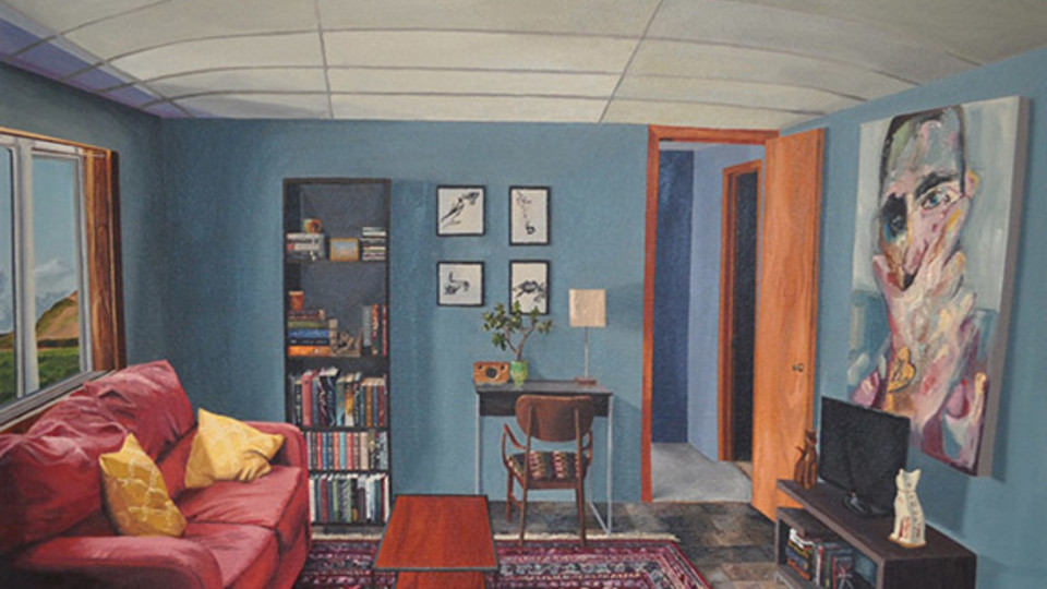 "Maddie Hinrichs, ""apartment,"" oil on canvas, 24"" x 30"" x2"", 2018."