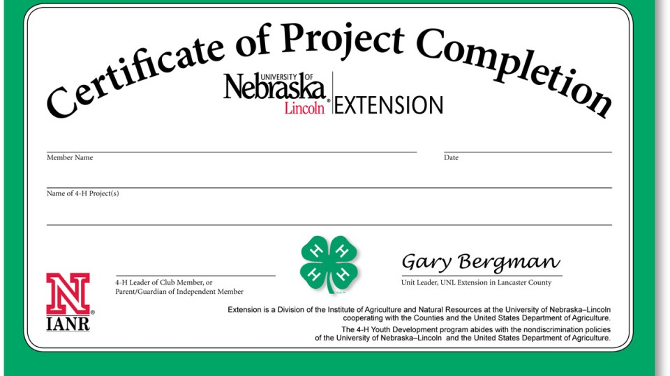 Project Completion Certificates Available 4 H Lancaster County