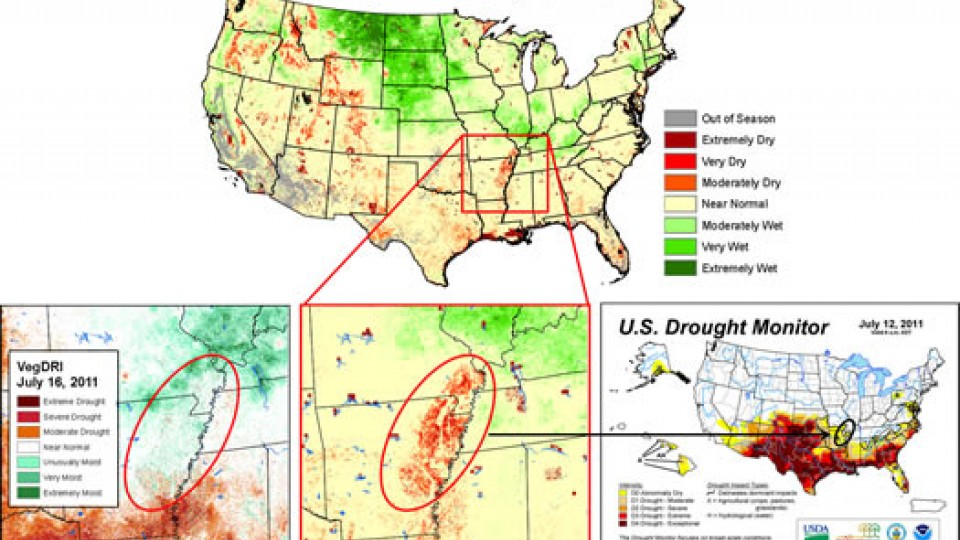 The QuickDRI prototype detected a fast-emerging area of drought in northwest Arkansas that didn't show up on VegDRI.