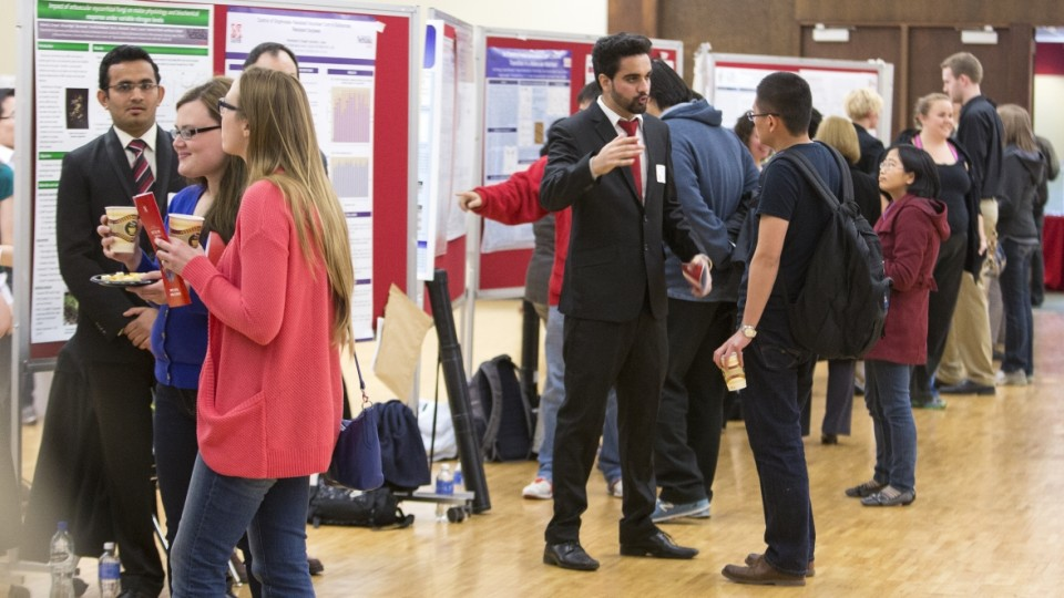 Students showcasing their research and creative activity during a previous UNL Research Fair. The spring 2016 event is April 12-13.