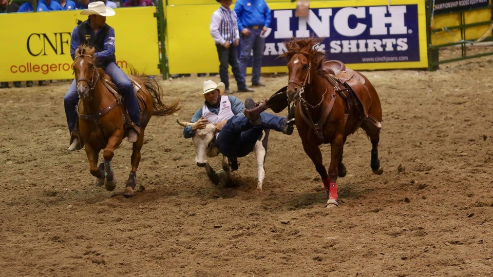Reed Kraeger earned the reserve championship in the steer wrestling competition at the 2017 College National Finals Rodeo.