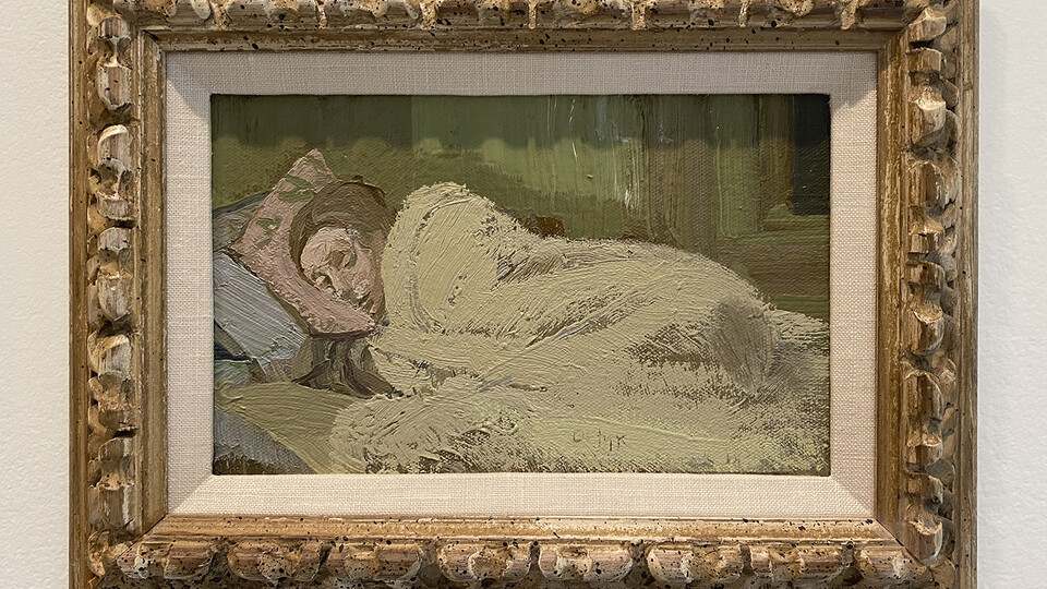 """""""Sleeping Woman,"""" a 1983 oil painting by Harry Orlyk, is on view at Sheldon Museum of Art in """"Framing a Legacy: Gifts from Ann and James Rawley."""""""