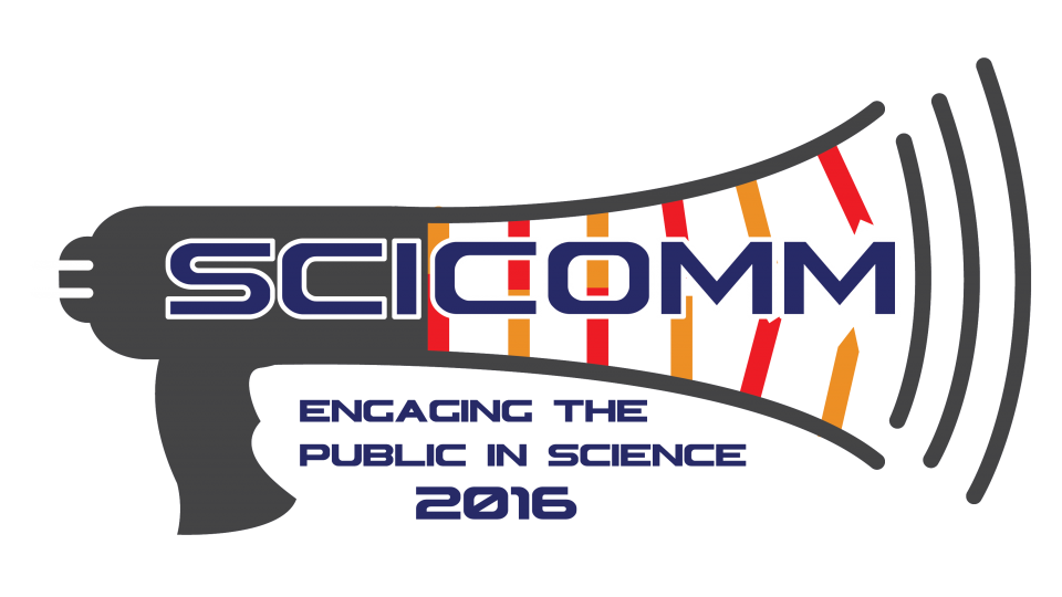 SciComm logo. Engaging the Public in Science 2016.