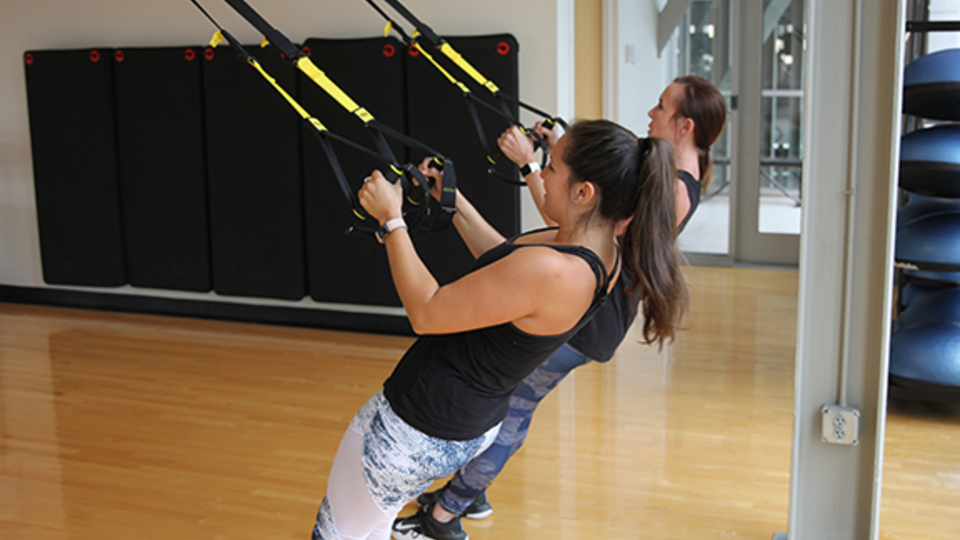 Students enjoy the TRX strength classes in the Rec & Wellness Center.