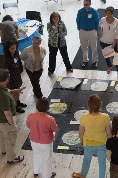 Teachers discuss cross-disciplinary curriculum at Sheldon Museum of Art.