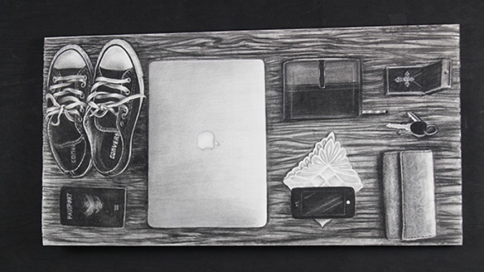 A still life drawing of objects Anna Binder would bring if her house was on fire is among the art on display at the Lux Center for the Arts.