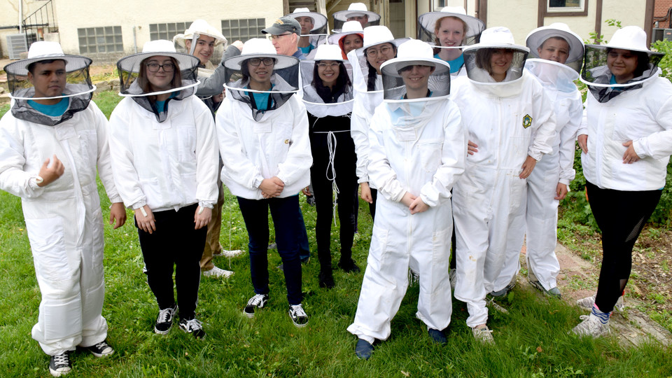 Young Nebraska Scientists learn about bee colonies during a Biology Explorations Camp.