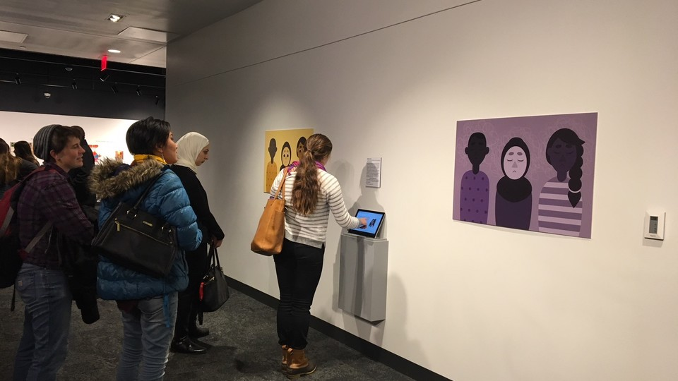"""The Nebraska Mosaic display includes student artwork and the multimedia reporting project, which can be viewed on a tablet. The """"Looking Past Skin"""" exhibit, which is free and open to the public, runs through May 15 at the museum, 131 Centennial Mall North"""