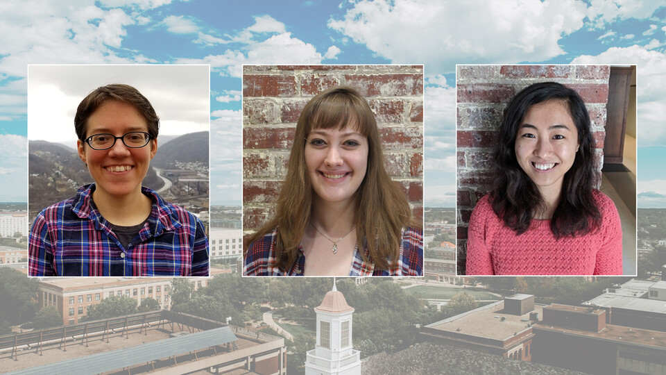May 2021 graduates (from left to right) Juliana Bukoski, Elizabeth Carlson and Su Ji Hong will bring the number of women who have earned the Ph.D. from the Nebraska mathematics department to 100.