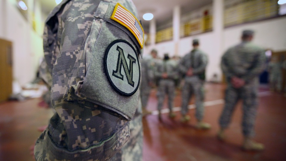 Army ROTC members line up in UNL's Military and Naval Science Building. Four UNL programs earned top-35 rankings in the most recent U.S. News and World Report rankings of the Best Online Programs for Veterans.