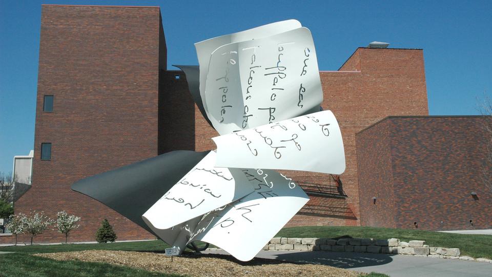 """""""Torn Notebook,"""" a sculpture on UNL's City Campus."""