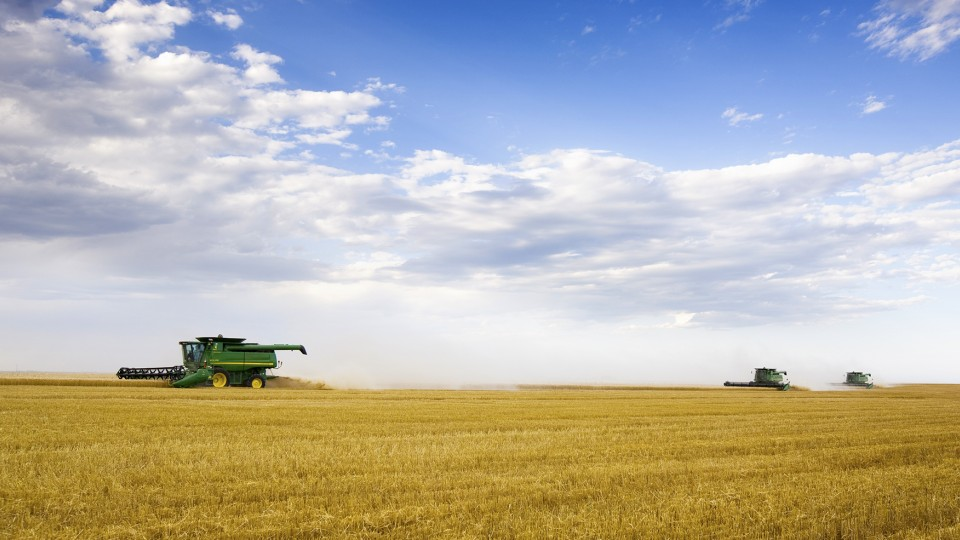 A custom combine crew harvests a wheat field west of Grant, Neb. UNL's School of Natural Resources is the home to a new Nebraska State Climate Office that will serve as the primary source of climate information for the Cornhusker State.