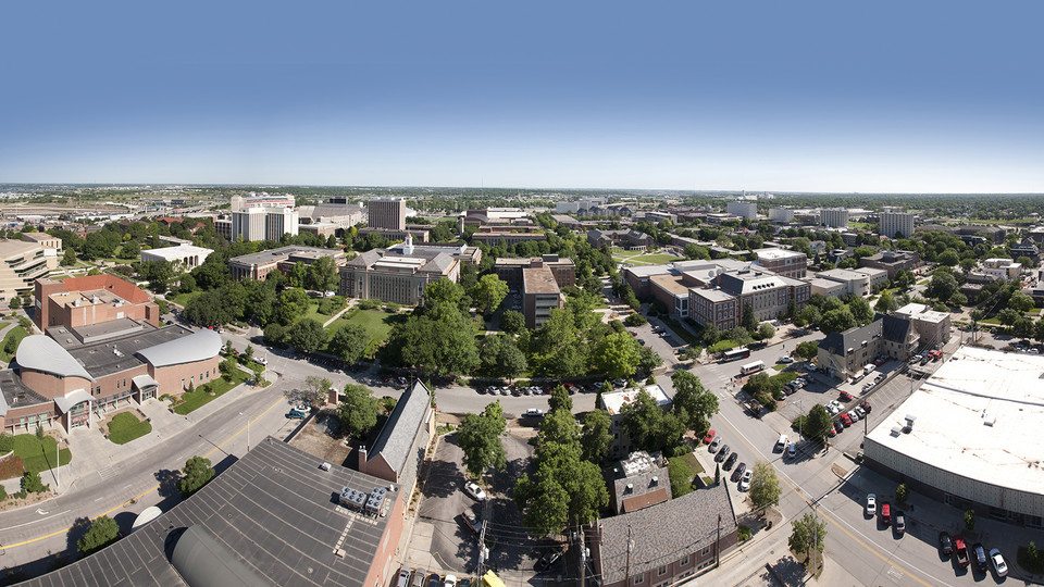 UNL's City Campus viewed from atop a construction crane in downtown Lincoln. UNL officially becomes a member of the Big Ten Conference and the Committee on Institutional Cooperation on July 1. The change ends a 104-year relationship with a conference that started as the Missouri Valley Intercollegiate Athletic Association in 1907.