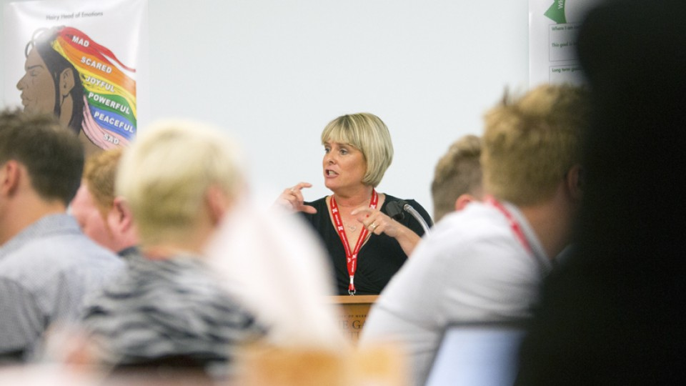 UNL's Susan Swearer talks with leaders from Paul Mitchell Schools about empowerment during a session on July 22. Swearer will discuss her bullying research in the Nov. 7 Nebraska Lecture.