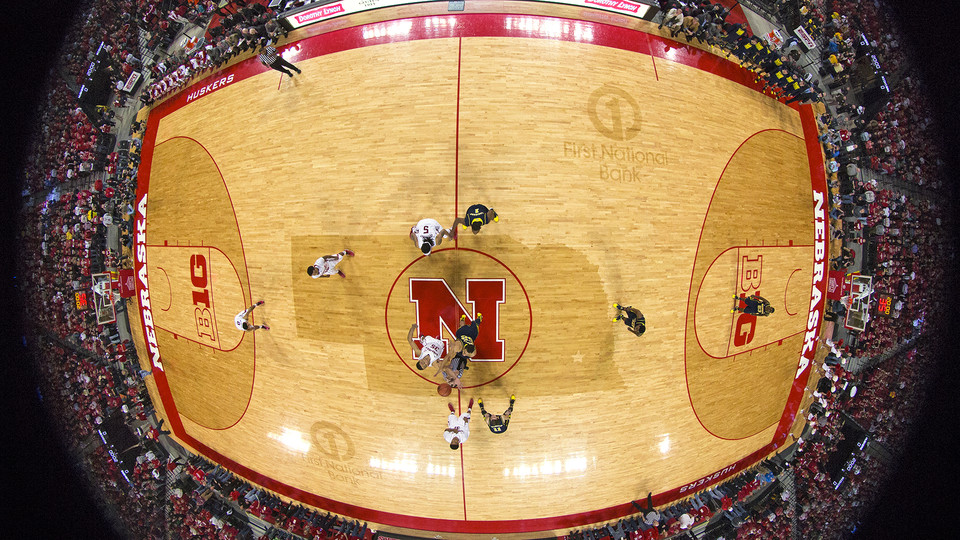 Nebraska and Michigan tip off at center court in a January 2014 game at Pinnacle Bank Arena.