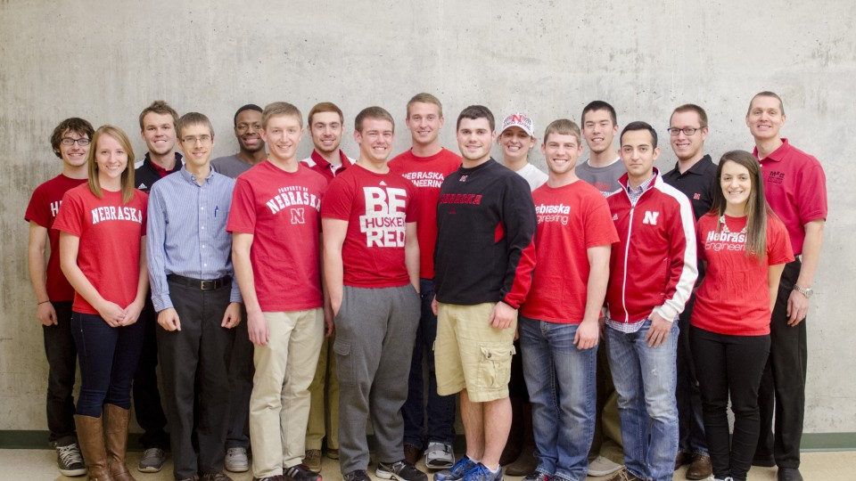 From left: Sawyer Jager, Tricia Foley, Erik Moore, Prof. Carl Nelson, Blake Stewart, Piotr Slawinski, Nick Goeser, Christian Laney, Shawn Schumacher, Luke Monhollon, Maggie Clay, Ethan Monhollon, Alfred Tsubaki, Victor Torres, Weston Lewis, Effie Greene, Prof. Ben Terry. Not pictured: Ty Rempe, Dustin Dam.