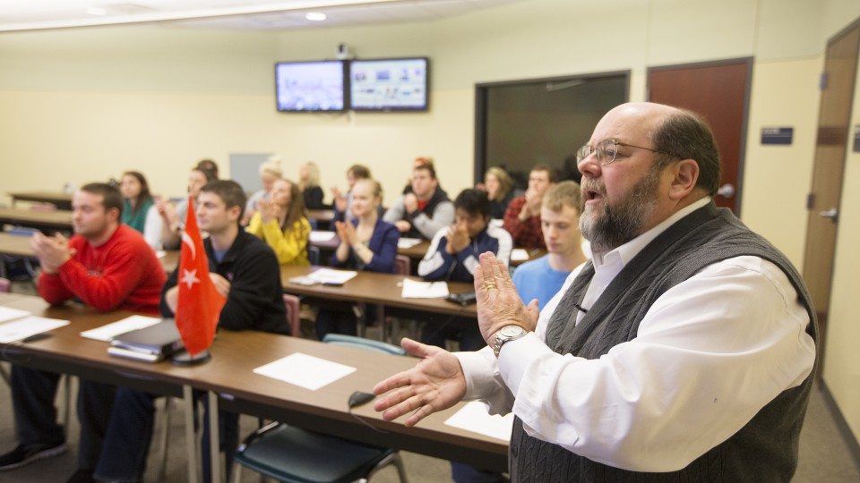 Charles Braithwaite leads the Global Classroom with UNL students in April 2013. The Global Classroom allows interaction with students from Russia, Yemen, Pakistan, Turkey, Costa Rica and Spain.