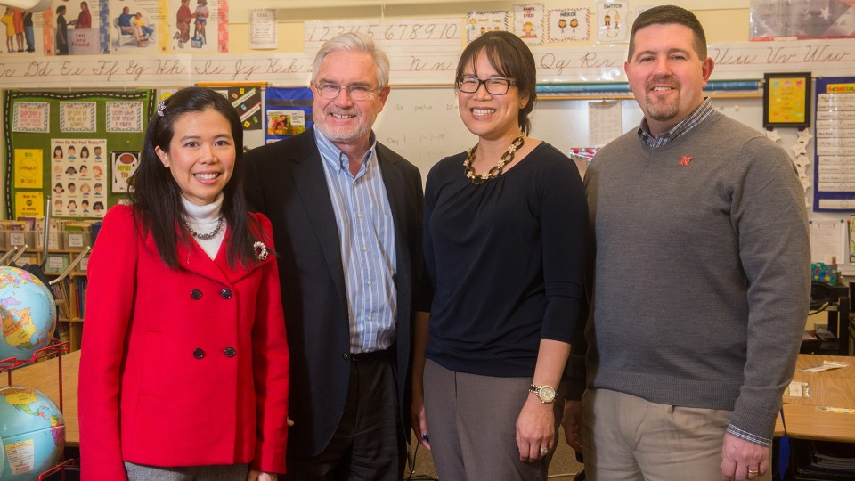 The UNL research team that earned a $998,433 EPA grant to study educational environments is led by (from left) Josephine Lau, Clarence Waters, Lily Wang and Jim Bovaird.