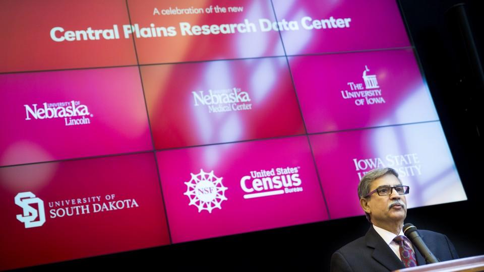 Prem Paul discusses the Central Plains Research Data Center, a partnership with the U.S. Census Bureau's Center for Economic Studies, during a grant announcement on March 9, 2015.